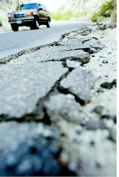 Old Clear Creek Road is crumbling at the edges.    BRAD HORN/ Nevada Appeal
