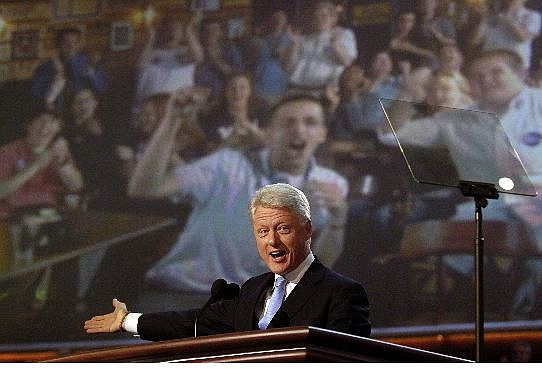 Associated Press Former President Bill Clinton speaks to delegates during the Democratic National Convention at the FleetCenter in Boston Monday.