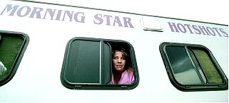 BRAD HORN/Nevada Appeal Jacqueline Hawley peers out of a Carson hotshots trailer.