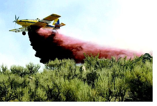Cathleen Allison/Nevada Appeal A single-engine air tanker, an Air Tractor 802, drops fire retardant on the Andrew fire, which began Wednesday.