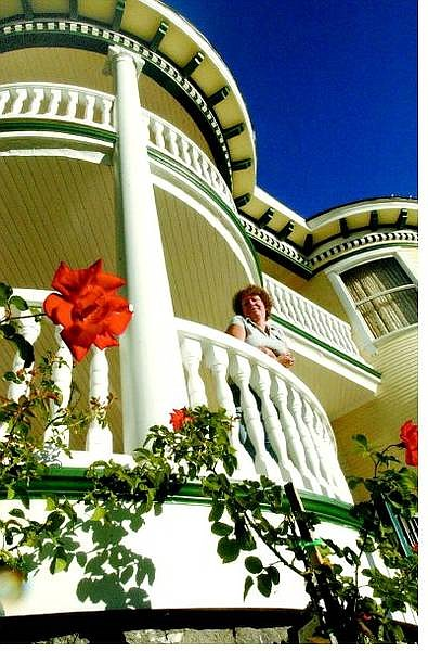 Rick Gunn/Nevada Appeal Carlita Ray stands on the bottom deck of the Brougher-Bath House on Wednesday morning. The mansion will be part of the 12th annual Ghost Walk, which begins in the Nevada State Museum courtyard on Oct. 23.
