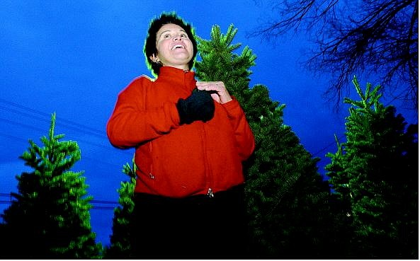 Rick Gunn/Nevada Appeal Mariana Sepulveda-Nichols, owner of a Christmas tree lot on Highway 50 East, talks about trees stolen from her lot. She said she is willing to help out people in need.