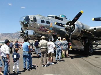 Kirk CarawayPeople wait to tour the interior of Sentimental Journey, a World War II era B-17 bomber.