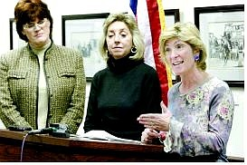 Cathleen Allison/Nevada Appeal Nevada Democratic lawmakers met with media in Las Vegas and Carson City to detail their list of legislative priorities. From left are Assemblywoman Susan Gerhardt, Sen. Dina Titus, and Assemblywoman Chris Giunchigliani, all D-Las Vegas.
