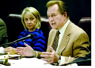 Cathleen Allison/Nevada Appeal Senate Majority Leader Bill Raggio, R-Reno, talks about compensation for lawmakers during a Senate Committee on Legislative Operations and Elections Tuesday afternoon at the Legislature. Sen. Barbara Cegavske, R-Las Vegas, is at left.