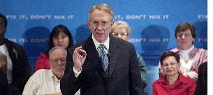 """Isaac Brekken/Associated Press Senate Minority Leader Sen. Harry Reid, D-Nev., speaks at a town hall style meeting on the fourth and final stop of the """"Fix it, Don't Nix it"""" tour discussing Social Security at University of Nevada, Las Vegas, Saturday."""