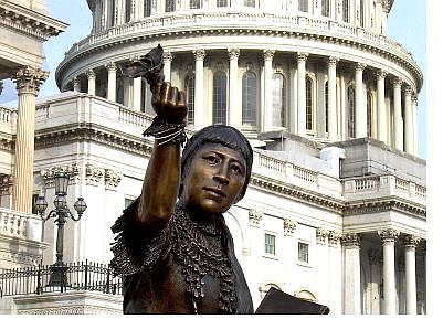 Bob Harmon/Nevada Department of Cultural Affairs Benjamin Victor's statue of Sarah Winnemucca arrives at the U.S. Capitol on Saturday. The statue took its place in the Capitol Rotunda on Wednesday.