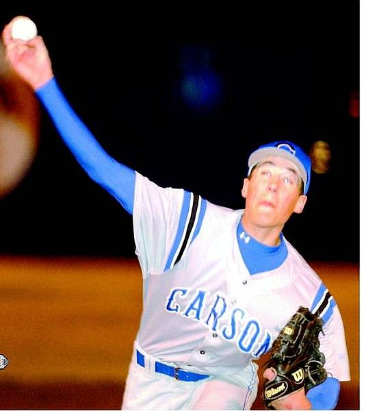 BRAD HORN/Nevada Appeal Carson's No. 35 delivers a pitch Friday at Ron McNutt Field.