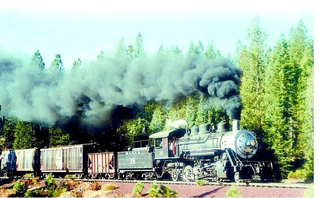 Martin Hanson/Courtesy photo The locomotive that was purchased for the V&T Railway is seen here  traveling through the McLeod, Calif., region near Mount Shasta.