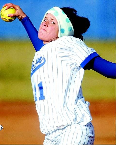 BRAD HORN/Nevada Appeal Carson's Mandy Carvin throws against South Lake Tahoe in Carson Wednesday.