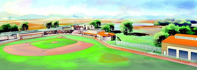 The John L. Harvey baseball stadium proposed for Western Nevada Community College. The field could be ready for play by July. The grandstands and other amenities are to come later.