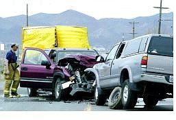 Cathleen Allison/Nevada Appeal No one was seriously injured in this two-car accident on Edmonds Drive north of Koontz Lane on Wednesday afternoon.