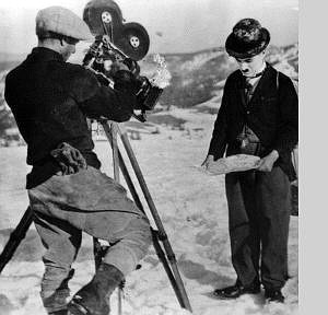Provided to Nevada Appeal News Service Rollie Totheroh films Charlie Chaplin during the making of 'Gold Rushi' in Truckee in 1924.