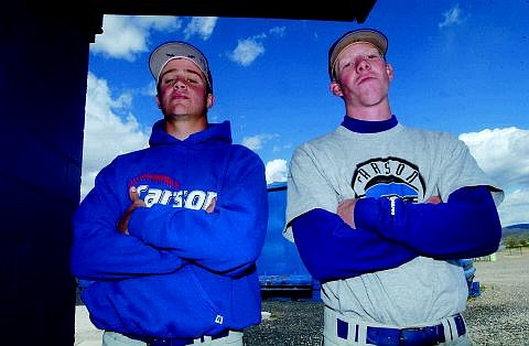 Rick Gunn/Nevada Appeal Murph Gardner, right, and Mike Teixeira stand near the field Tuesday afternoon at CHS.
