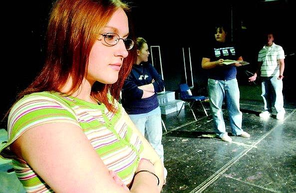 "Rick Gunn/Nevada Appeal Carson High School student Ashly Domina plays a part in ""Power and Deception,"" an exploratory theater piece that CHS advanced-theater students will perform at the Brewery Arts Center on Tuesday and May 26."