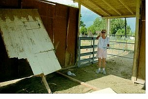 Kevin Clifford/Nevada Appeal Carolyn Garrett explains how her daughter's barn looked before it was suddenly devastated by a shock of wind that tore through her backyard Friday. The shock of wind destroyed one barn and caused minor damage to other structures.