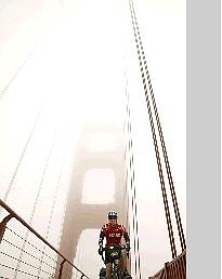 """Photo submitted Nevada Appeal photographer Rick Gunn warms up on the Golden Gate Bridge on Thursday, a day before he officially begins his """"Wish Tour."""" Gunn will be collecting donations for the Make-A-Wish Foundation as he travels around the world for the next two years."""