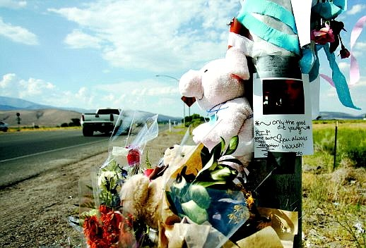 Chad Lundquist/Nevada Appeal An impromptu memorial to Bridget Chambers, 17, stands alongside Highway 395 in Douglas County. The teen died Friday evening in a car accident near Stephanie Way.