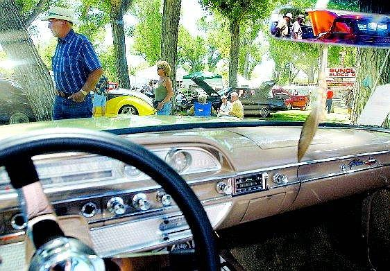 BRAD HORN/Nevada Appeal A view from the inside of Dayton resident Chuck Martens' 1962 Ford Galaxie 500XL convertible, left, at the Silver Dollar Car Classic at Mills Park last year.
