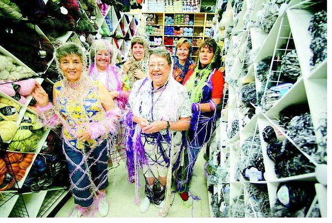 BRAD HORN/Nevada Appeal Dee Martschinske, from front right counterclockwise, Teresea Clark, Barbara Van Hise, knitting instructor Sue Kitts, Jaye Dallen, and Grace Allesch pose at Craft Market, 2750 S. Carson St., in Carson City on Aug. 13.