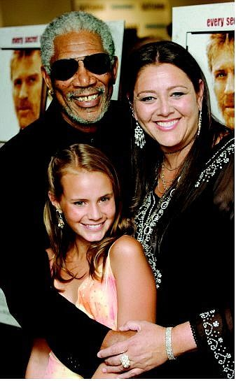 """Stuart Ramson/Associated Press Co-stars Morgan Freeman, Camryn Manheim and 15-year-old Whittell High student Becca Gardner pose Wednesday at the New York premiere of their film, """"An Unfinished Life."""""""