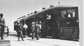 Nevada State Museum photo The Virginia & Truckee No. 22, McKeen Motor Car No. 70 on its first run at Minden on June 2, 1910.