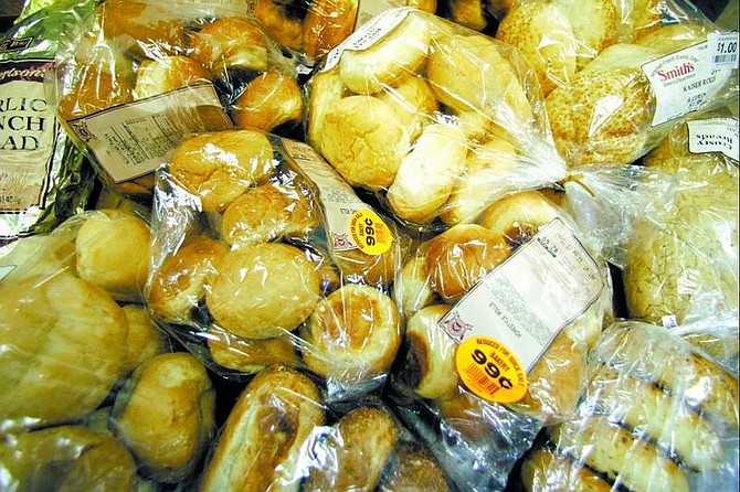 BRAD HORN/Nevada Appeal Rolls, bagels, french rolls, and garlic bread are some of the varieties of bread donated by Smith's and Albertsons to the Dayton Bread Bank.