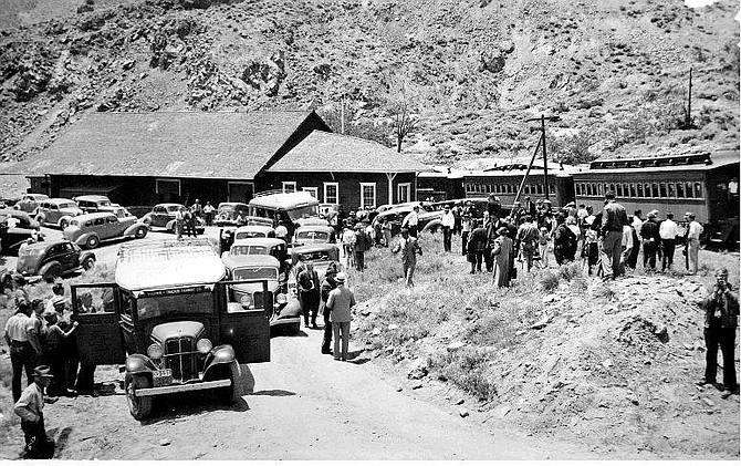 Nevada Historical Society/Photo California, Nevada, Railroad Historical Excursion train to Virginia City on June 5, 1938, at the Gold Hill Depot.