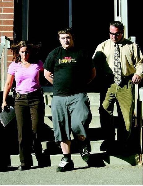 BRAD HORN/Nevada Appeal Carson City Sheriff's detectives Dena LeGros and Dave LeGros escort Fred Carl Bechtold into the booking area at the Carson City Jail after Bechtold was arrested for allegedly burying evidence in connection with Adam Wells death.