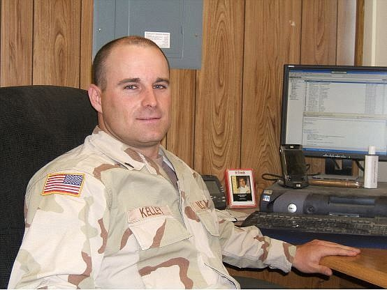 Sgt. Patrick Kelley of the Nevada Army National Guard works in Fort Irwin, Calif., as the information management officer for the 1st Squadron, 221st Cavalry. He is taking online classes in information  technology toward a bachelor's degree,  which he should complete this spring.  Maj. Scott Cunningham,  Nevada Army National Guard/For the Appeal