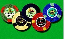 photo illustration by Rebecca Enerson/Nevada Appeal News Service. These classic casino gaming chips are among those being auctioned on eBay. The opening bid for more than 6,000 casino chips and tokens has already reached $1 million.