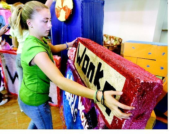 Emma Musser, 13, works on the Willie Wonka Chocolate Factory in preparation for the Virginia City Middle School Halloween Carnival. The carnival, which is tonight from 5:30-9 p.m., will benefit student activities.   Cathleen Allison Nevada Appeal