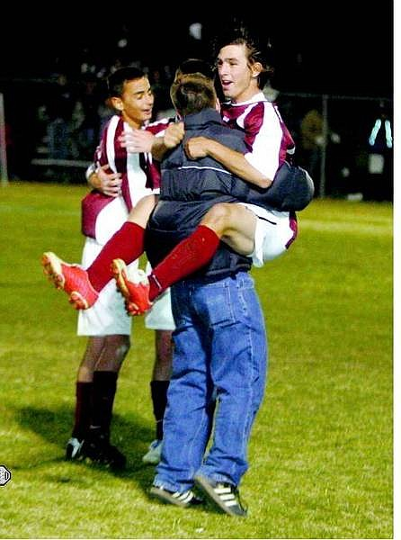 BRAD HORN Elko's Spencer Garvin celebrates after the Elko Indians beat the Chapparal Cowboys 1-0 in Carson City on Friday.