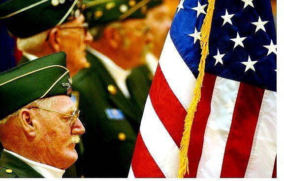 BRAD HORN/Nevada Appeal Robert Ward, a Vietnam Veteran, listens to Veteran's Day ceremonies at SIlver Stage High School on Thursday.