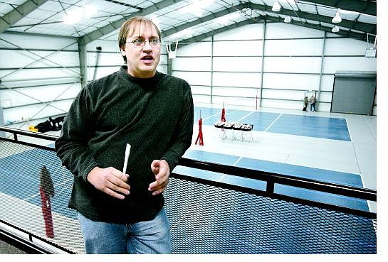 Cathleen Allison/Nevada Appeal Mike Reeder, director of the Capital City Volleyball Club, talks Wednesday about the new 12,000-square-foot facility set to open in East Carson City this weekend.