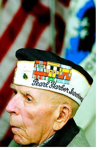 BRAD HORN/Nevada Appeal Bob Fitzgerald of Reno listens Wednesday during introductions at the Pearl Harbor Survivors Association. Inc. meeting at Grandma Hattie's commemorating the anniversary of the bombing. Fitzgerald is a transfer from Chapter 23 in Santa Rosa, Calif.
