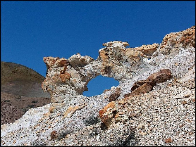 Associated Press A colorful rock arch shown in this undated photo within the Monte Cristo Range just west of Tonopah is just one of the natural formations in the area.