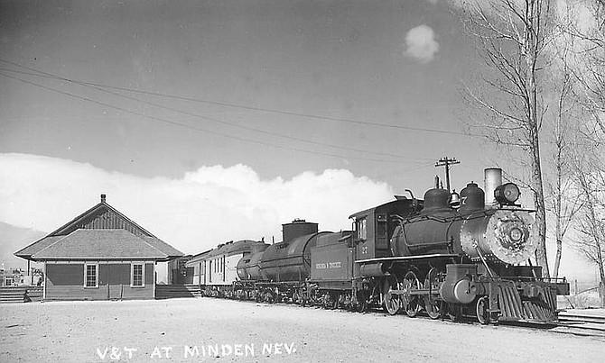 The Virginia & Truckee Railroad locomotive No. 27 at the Minden Depot.