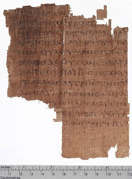This image provided by the National Geographic Society shows the missing half page of the Gospel of Judas that resurfaced in New York in Feb. 2006, on display at the Society in Washington. The ancient manuscript rediscovered after 1,700 years may shed new light on the relationship between Jesus and Judas, the disciple who betrayed him. (AP Photo/Kenneth Garrett, National Geographic Society)