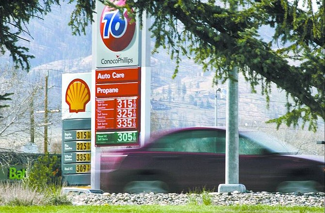 Cathleen Allison/Nevada Appeal Gas prices in Carson City passed the $3 mark Friday. According to The Associated Press, retail gas prices have risen about 60 cents a gallon since the beginning of the year.
