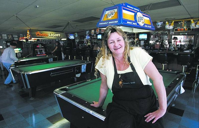 """Cathleen Allison/Nevada Appeal Randy Wright, aka """"Mustang Sallie,"""" opened Mustang Sallie's Deuces Grill in October on Old Hot Springs Road in North Carson City."""