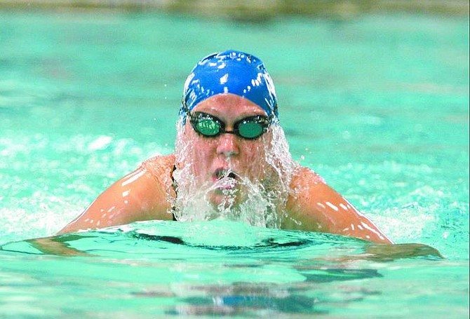 BRAD HORN/Nevada Appeal Carson swimmer Abby Niehoff, 14, competes in the 200 meter medely at the Carson Aquatic Center on Saturday.