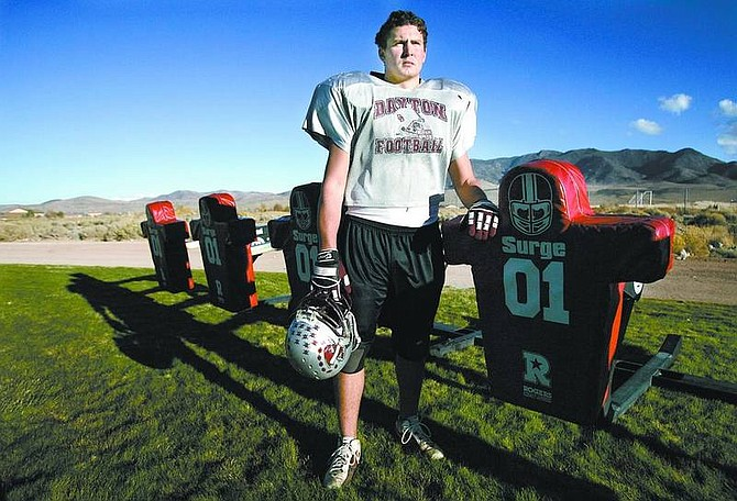 Cathleen Allison/Nevada Appeal At six-foot-four, and 265-pounds, Dayton linebacker Brandon Seymour, 17, is being recruited by Colorado State and Utah State.
