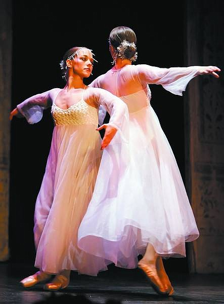 """Chad Lundquist/Nevada Appeal Linsey Wegener and Rebecca Jolly of danceSpirit Performing Arts perform the """"Snowstorm Ballet"""" as part of """"Ebenezer - Jazz'd up Like the Dickens!"""" Several holiday productions and activities continue throughout the month."""