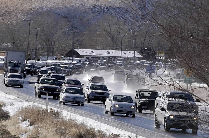 Kevin Clifford/Nevada AppealNorthbound traffic through Pleasant Valley remained slow at 1 p.m. following a five-car accident at 9:30 this morning.