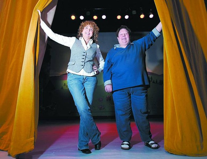 Carol Scott, left, and Pat Josten stand on the stage of the  Children's Museum of Northern Nevada on Wednesday afternoon. The women founded Wild Horse  Productions in partnership with the museum to bring more  children's theater to the area. Auditions for their first  production will be held Jan. 13.    Chad Lundquist/ Nevada Appeal