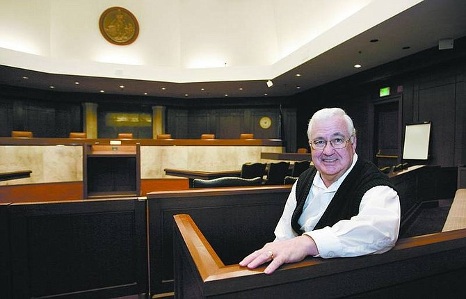 Cathleen Allison/Nevada Appeal Former Chief Justice Bob Rose talks from the Nevada Supreme Court on Friday. Rose, who retired after 18 years on the bench, says his wife is looking forward to watching TV with him at night without him having a legal brief on his lap.