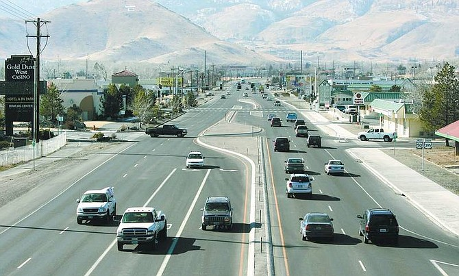 Cathleen Allison/Nevada Appeal City officials hope to acquire state land at the intersection of Russell Way and Highway 50 East, seen above, to encourage commercial growth in the area.