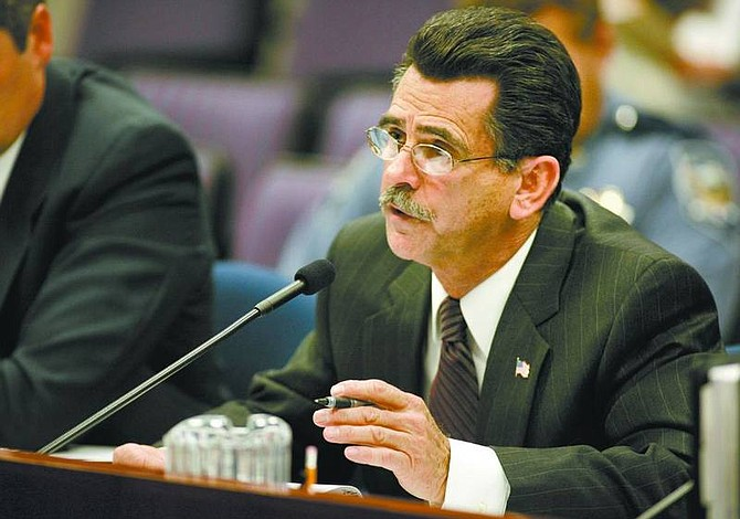Cathleen Allison/Nevada Appeal Phil Galeoto, director of the Department of Public Safety, testifies before a joint budget subcommittee Tuesday afternoon at the Legislature.