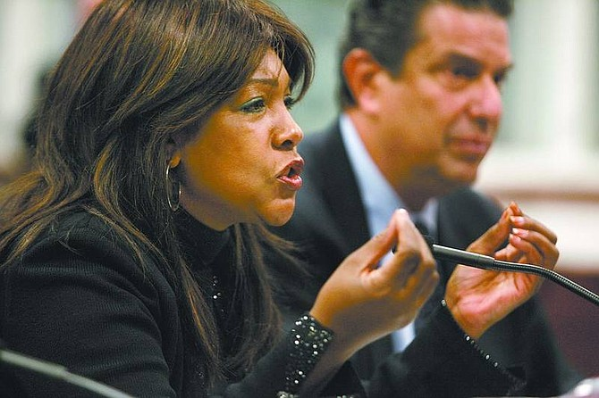 """Cathleen Allison/Associated Press Former Supremes singer Mary Wilson testifies before the Senate Commerce and Labor committee Thursday at the Legislature in Carson City. Wilson, and former Sha Na Na member Jon """"Bowzer"""" Bauman, right, presented a proposal that lawmakers approved banning imposter musical groups."""